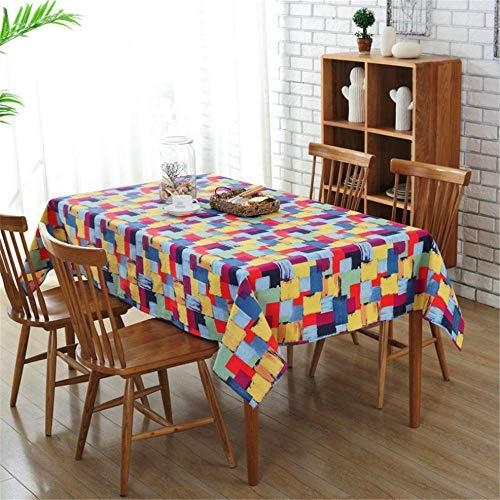 SONGHJ Farbige Quadrate Tischdecke Baumwolle Leinwand Tischdecke rechteckig Home Kitchen Party Dekorationen Tischdecke A01 70x70cm