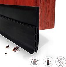 Expower 1 Meter Selbstklebende Tür Türdichtung Dichtungsstreifen Schallschutz Ersatzdichtung Warme und Kälte Blocker wasserdichtes Tür-Siegel-Abisolieren,Silikon Türstopper gegen Insekt (Schwarz)