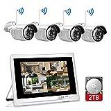 YESKAMO Funk Überwachungskamera Set Aussen WLAN mit 8CH 1080P 12 Zoll IPS Monitor und 4pcs 2.0MP Outdoor WiFi Kameras 2TB Festplatte für die Aufnahme von H.265 Hausalarmanlagen mit Bewegungserkennung