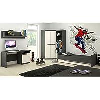 Preisvergleich für Jugendzimmer Komplett - Set A Sidi, 5-teilig, Farbe: Grau / Kiefer Weiß