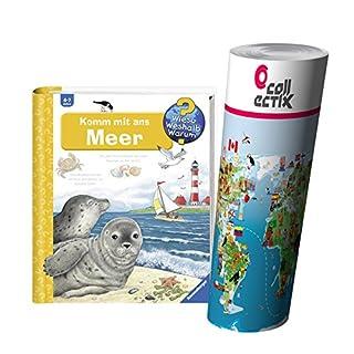 Ravensburger Kinder Sachbuch 4-7 Jahre | Komm mit ans Meer + Tier Weltkarte by Collectix
