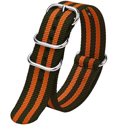 Fullmosa Zulu 18mm 20mm 22mm 24mm Bracelet Montre Homme Femme, 10 Couleurs Montre Bracelet Nylon à Rayure Fermoir Métal Réglable, Marine Vert + Orange 18mm