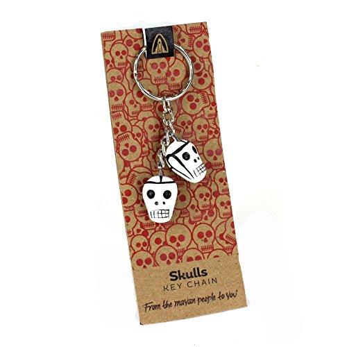 Totenkopf Schlüsselanhänger Tag der Toten Stil Schlüsselanhänger Fairtrade handgemachte Keramik Geschenk (Keramik Aztec)