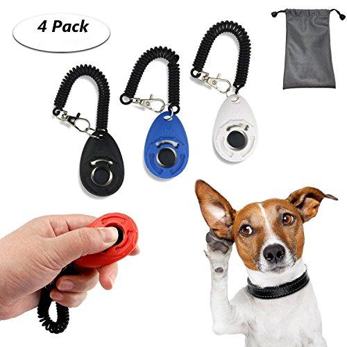 TedGem Klicker 4 Stück Hundetraining Hundeerziehung Klicker mit Handgelenk Band,Klicker für Hunde, Training Klicker, Puppy Training Clickers mit Handgelenkband Clicker (klein) -