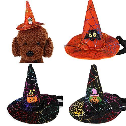 2 Hunde Tragen Geschenk Kostüm - Saniswink Zylinder Für Ihr Haustier, Halloween-Haustier-Hundekatze-Schläger-Eulen-Kürbis-Druck-Hut-Kappe