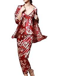 Amantes Pijama Mujer 3 Piece Set Chaleco Pantalones Hombre Albornoces