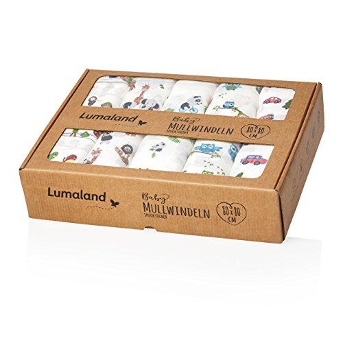 Lumaland Baby Mullwindeln Spucktücher 10er Set ca. 80 x 80 cm 100% Baumwolle weich schadstofffrei bunte Motive