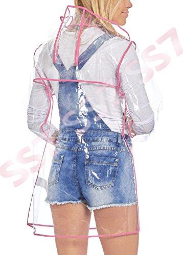 SS7 nouvelles femmes transparent coupe vent imperméable, rose, taille 8 to 14 Transparent / rose