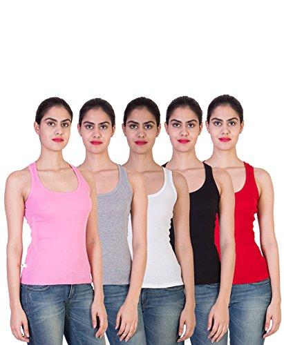 2DAY-Womens-Stylish-Comfy-Tank-top-Baby-PinkGreyWhiteBlackRed-Pack-of-5