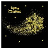 Sixcup Wall Stickers Merry Christmas Gold Household DIY Wall Sticker Affixed Art Nursery Decals Kids Room Bathroom Toilet Wall Window Kitchen Fridge Decoration Living Room Creative Home Decor (E)