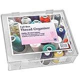 Nähwelt Flach Acryl-Garnbofür 30 Konen, Gefüllt mit 15 Farben Madeira Overlock Bauschgarn, ideale Aufbewahrungsbox