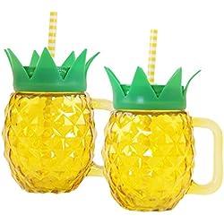 Close Up Ananas Trinkglas mit Henkelgriff, Strohhalm und Deckel 2er Pack