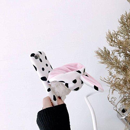 7 Plus, iPhone 8 Plus Hülle Kreativ, SevenPanda Plüsch 3D Niedlich Einzigartig Niedlich Luxus Pelzig Winter Mode Kaninchen Haar Women Girly Cute Warm Plushball Kaninchen Ohren Kugel Hut Plüsch Zurück Hülle Case Schutzhülle für iPhone 8 Plus / iPhone 7 Plus 5.5 Zoll - Weiß Leopard ()