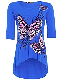 Womens Ladies 3/4 Sleeves Butterfly Print Dip Hem High Low Tunic Top Plus Size