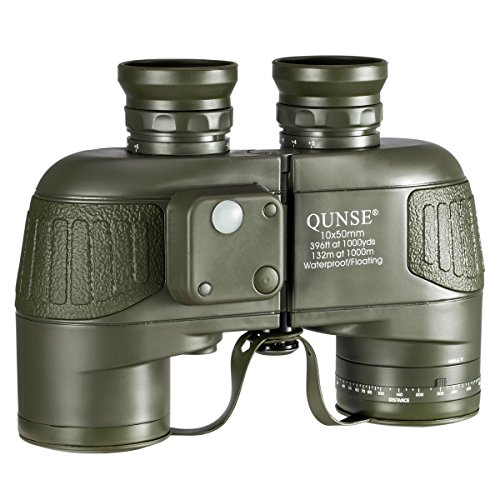 QUNSE Militärisches Nautisches Fernglas 10x50, mit entfernungsmesser - Entfernungsmessen mit dem Kompass , großes Objektiv für weites Feld BAK4, Wasserdicht und Antibeschlag, mitgelieferte Schultergurte