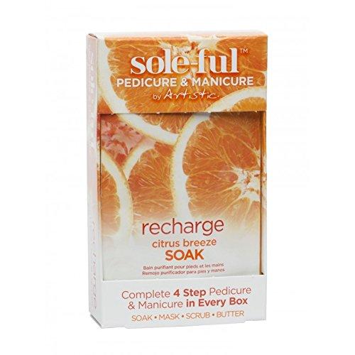 Artistic Soleful-Recharge Citrus Breeze Einweichen 4Stück inkl. 1x Soak, 1x Maske, 1x Scrub und 1x Butter, Maniküre und Pediküre -