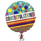"Anagram Balloons 3263301 Anagram Congratulations Sparkle Foil Mylar Latex Balloon, 18"", Multicolor"