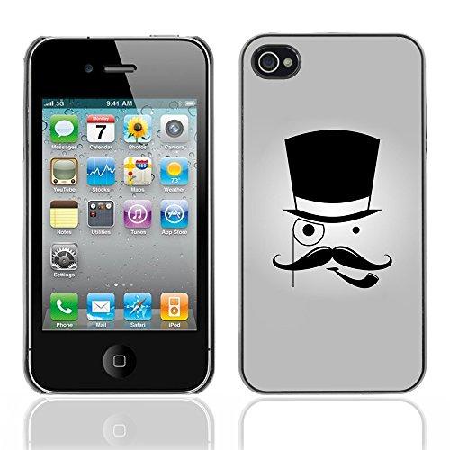 Graphic4You Mustache Schnurrbart Lustig Design Harte Hülle Case Tasche Schutzhülle für Apple iPhone 4 und 4S Design #7