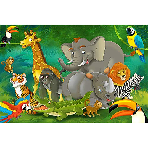 GREAT ART Foto Mural Infantil Animales de la Selva 140 cm x 100 cm- Tapiz y Decoración de Jungla Póster de Naturaleza