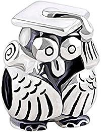 Abalorio de plata de ley 925 para pulsera, diseño de búho con pergamino