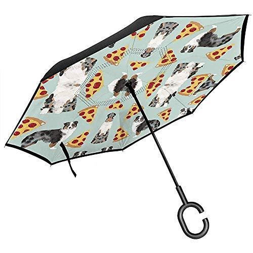 Dem Boswell Australian Shepherd Pizza Lustiger niedlicher Auto-Rückschirm-umgekehrter Regenschirm mit C-förmigem Griff für Auto-Regen -