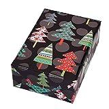 Geschenkpapier Rolle 50 cm x 50 m, Motiv Montana, Punkte und farbenfrohe Tannenbäume glänzen aus dem mattschwarzen Fond heraus. Für Weihnachten, Geburtstag, Kinder. Weihnachtsgeschenkpapier