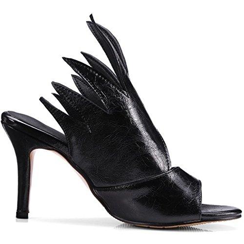COOLCEPT Femme Mode A Enfiler Sandales Mince Talon Haut Peep Toe Mule Chaussures Taille Noir