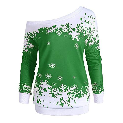 Marlene (R) Weihnachten T-Shirt-Damen Lange Ärmel Off-The-Schulter-Schneeflocke Druck Pullover-Große Größe Top (-35%) XL~5XL
