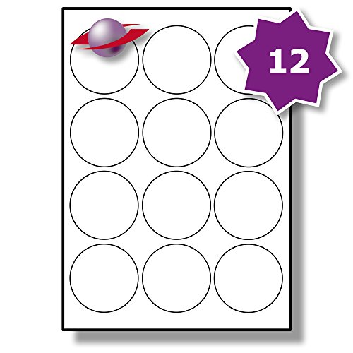 �tter, 120 Etiketten. Label Planet® A4 Runden Schlicht Weiß Matt Papier Etiketten Für Tintenstrahl und Laserdrucker 63.5mm Durchmesser, LP12/63 R. (Avery-etiketten-kreis)
