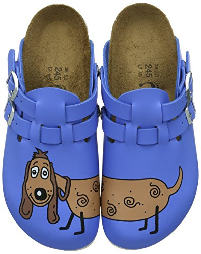 Birkenstock Classic Kay Birko-Flor, Damen Clogs, Blau (Dog Blue), 38 EU (Antik Boston Clogs)