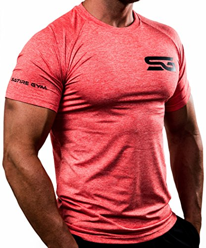 Satire Gym Fitness T-Shirt Herren - Funktionelle Sport Bekleidung - Geeignet Für Workout, Training - Slim Fit (M, rot meliert)