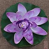 RAILONCH Railon Künstliche Lotus-Lilie, künstliche Pflanzen, Gartenteichdekoration, 28 cm violett
