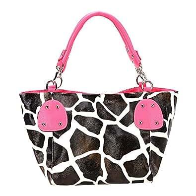 FASH Giraffendruck zeitgenössischen Stil Tote Handtasche - fuchsia