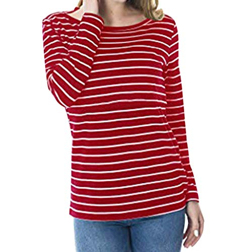 Beikoard Umstandskleidung,Frauen Umstandsmode Krankenpflege Streifen Bluse Stillshirt Umstandsshirt Nacken Stillbluse