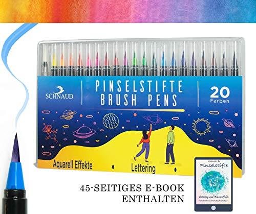 en Set 20 Farben + 1 Wassertankstift, Hand-Lettering Stifte für Bullet Journal, Kalligraphie und Aquarell, Watercolour Pens, Calligraphy Aquarellstifte mit E-Book - Brush Markers ()