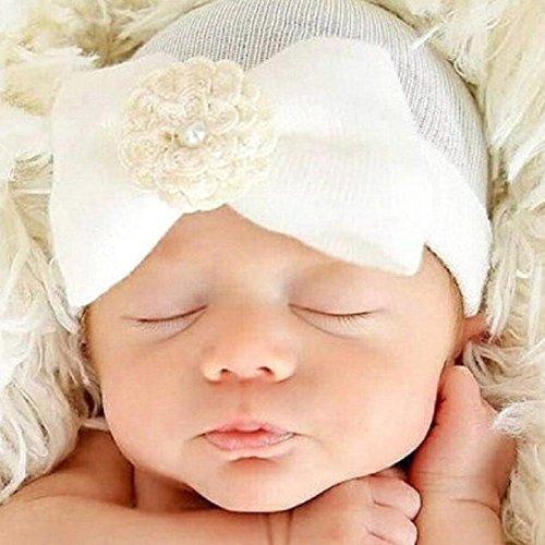 Baleba Krankenhausmütze für Neugeborene, mit hübscher Schleife, Blumen und Perle, Weiß