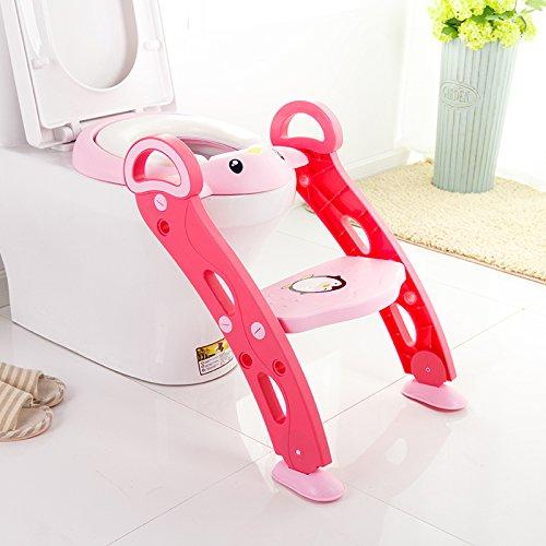 Meirong Toilettensitzleiter Justierbarer Baby-Kleinkind-Töpfchen-Kindertoiletten-Trainer Mit Schritt-Schemel Für Jungen Und Mädchen,Pink