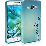 kwmobile Hülle für Samsung Galaxy A3 (2015) - TPU Silikon Backcover Case Handy Schutzhülle - Cover Smile Design Blau Türkis