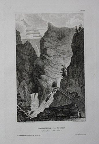 Gondo Wallis Valais Zwischbergen Schweiz Suisse Original Stahlstich Dekoration Gelernt 1850