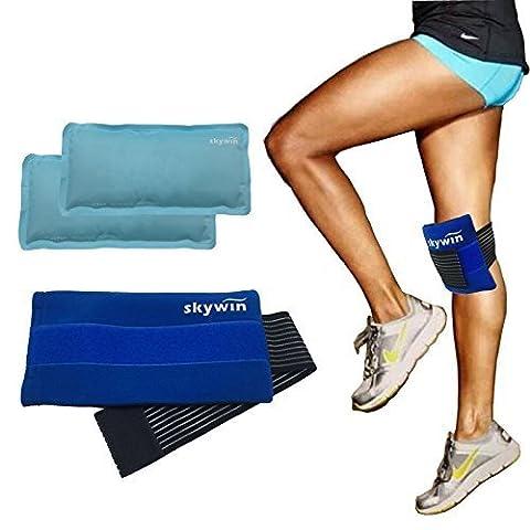SKYWIN Flexible Ice Pack Wrap Gel Chaud et Froid Glace Wrap thérapie de Compression, Medical Therapy avec Sangle à Glace, Réutilisable et réglable pour Blessure Musculaire et Soulagement de la Douleur