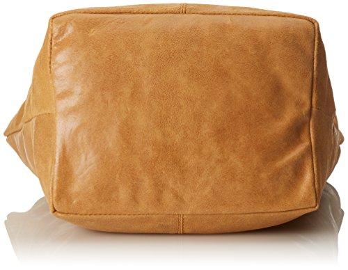 CTM Damen Schultertasche mit Griffen Semi-gloss, 39x36x20cm, 100% echtes Leder Made in Italy Orange (Cuoio)