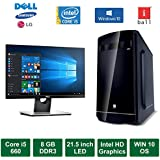 "Desktop PC - Intel Core I5 660 Processor / 21.5"" LED Monitor / Windows 10 Pro / 500GB HDD / DVD / WiFi"