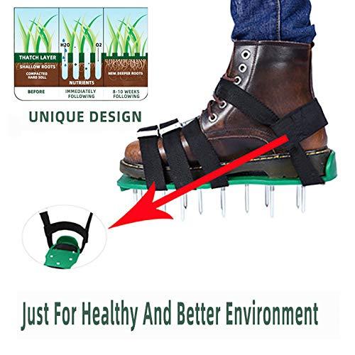 Skrtoy - Zapatos aireadores de césped, 26 Pinchos y 4 Correas Ajustables Listas para airear tu Patio, césped, raíces y Hierba, Sandalias Resistentes con Pinchos para Hombres y Mujeres, Verde