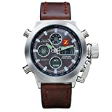Herren Uhr ZEIGER Armbanduhr Braun Leder Digital Sport Uhr Analog Quarz Herrenuhr Alarm Licht Chronograph Datum W219