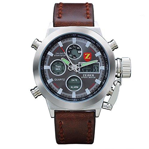 Reloj hombre piel Zeiger Reloj Hombre Marron Reloj Hombre Date Alarm LED Marron Reloj para hombre Mujer Reloj de cuarzo con esfera negro reloj hombre Luxe W219