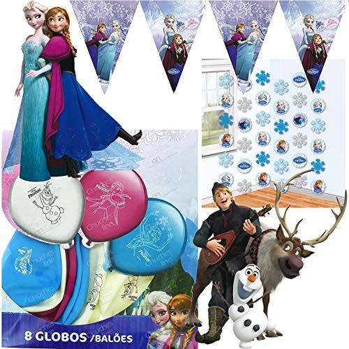 Procos/Carpeta 42-TLG. Deko-Set * Frozen Ice Skating * mit Wimpelkette + Figuren u.v.m | Kinder Kindergeburtstag Motto Party Disney Anna ELSA Eiskönigin Olaf Ballons