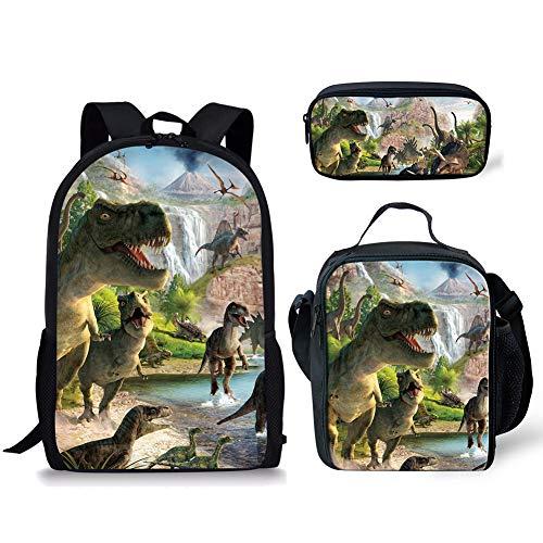 POLERO Schulranzen Set mit Mittagessen-Beutel und Bleistift-Kasten Cartoon-Dinosaurier gedruckt (Lauf Dinosaurier-Muster) (Cartoon-bleistift-kasten)