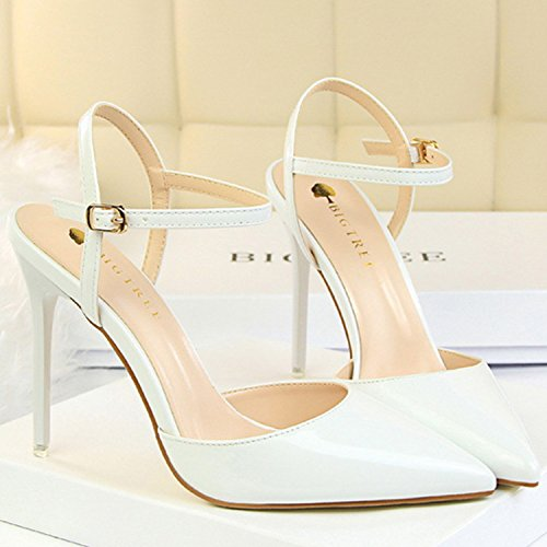 Azbro Women's Pointed Toe Ankle Strap High Heels Slingback Sandals White