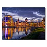 #detailverliebt Wand-Bild Hörder Burg Motiv I DV_295 I ca. 84,1 x 59,4 cm Poster-Druck I Din A1 Premium Plakat-Papier Quer-Format Phoenix-See Dortmund Bei Nacht XXL