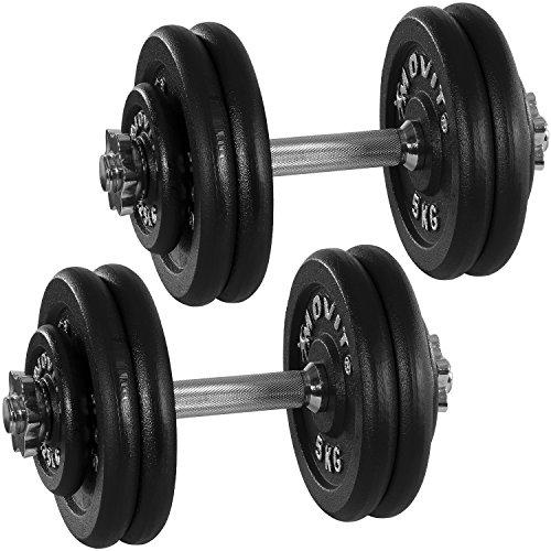 MOVIT® Gusseisen Kurzhantel 2er Set, Varianten 20kg, 30kg, 40kg, 50kg, 60kg, gerändelt mit Sternverschlüssen (Drücken Kurzhantel)